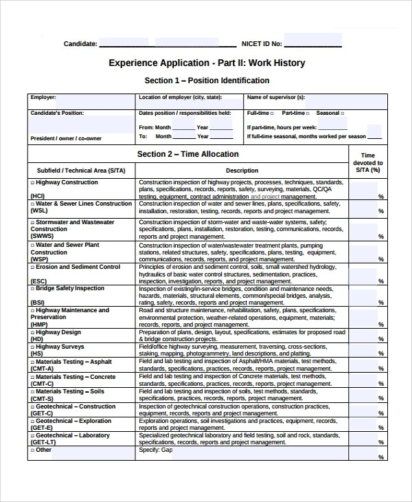 Resume Templates Sample Work History Template 9 Free Documents Download
