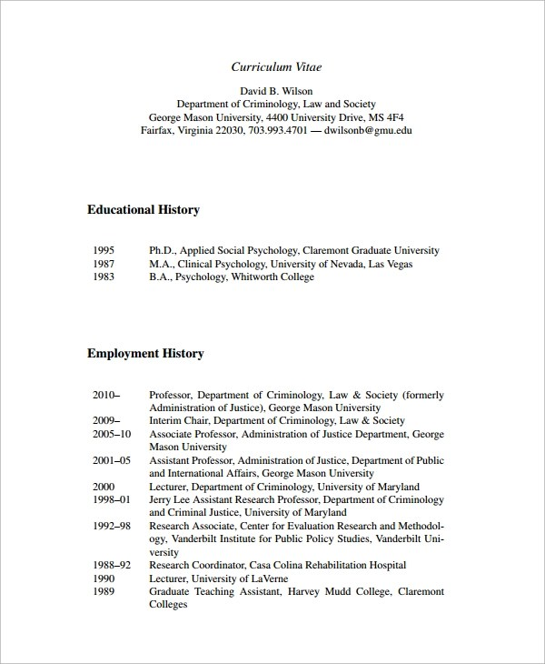 10+ Employment History Templates - Word, PDF