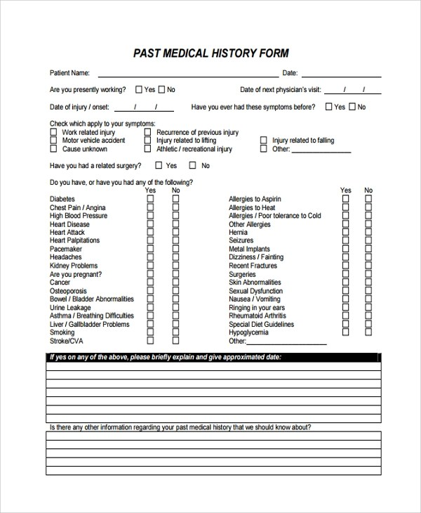 past medical history form template job history template employment - medical templates for word