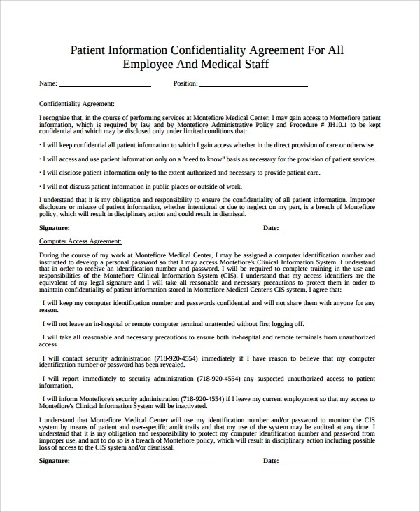 Sample Medical Confidentiality Agreement Hr Confidentiality