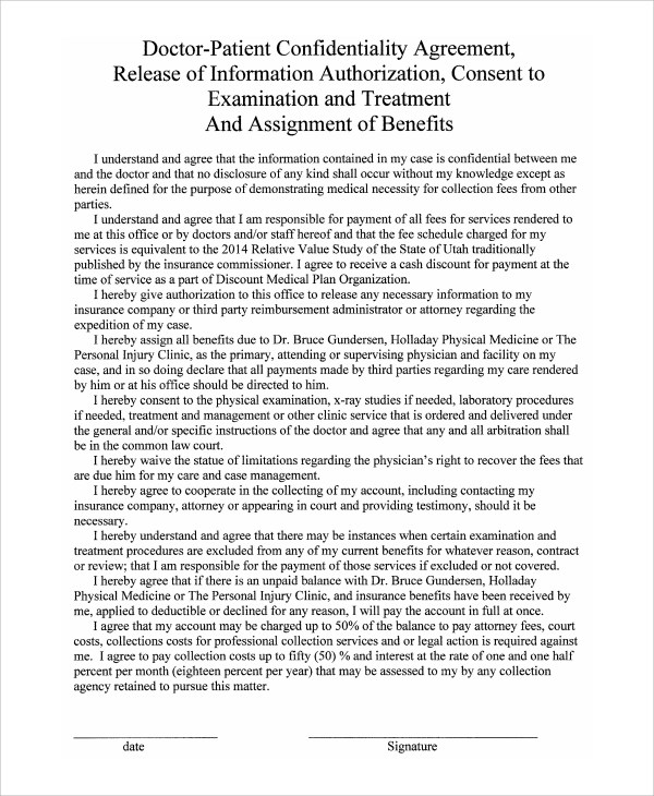 Confidentiality Agreement Medical Records – Patient Confidentiality Agreement