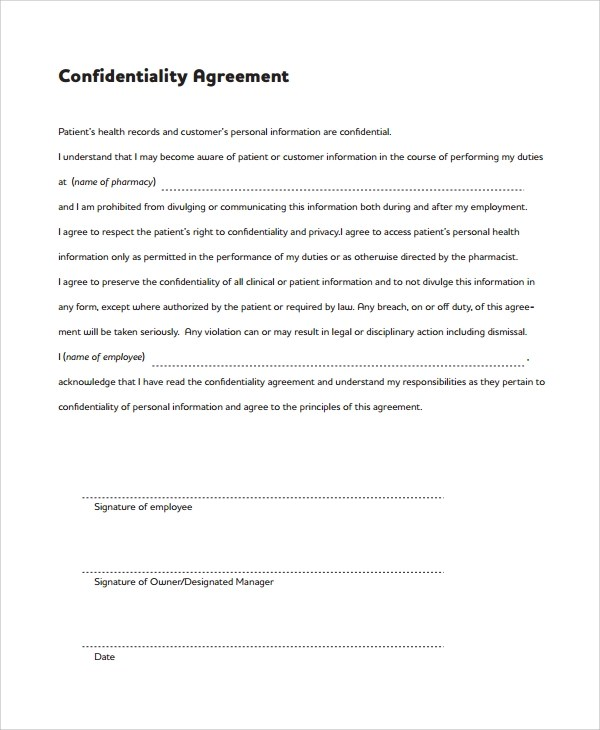 Sample Confidentiality Agreement Form | Writing Resume Job
