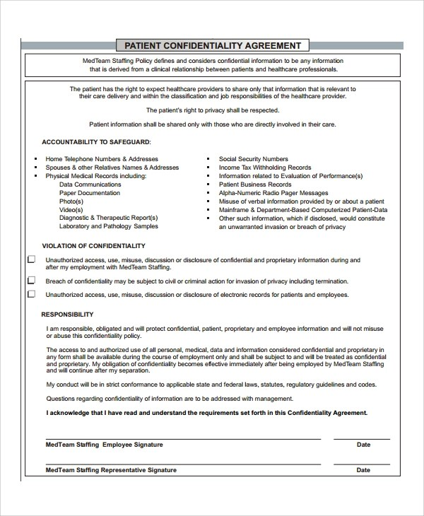 7+ Patient Confidentiality Agreements Sample Templates