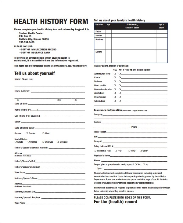 Sample Health History Template - 9+ Free Documents Download in PDF, Word