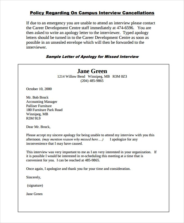 11+ Work Apology Letters Sample Templates