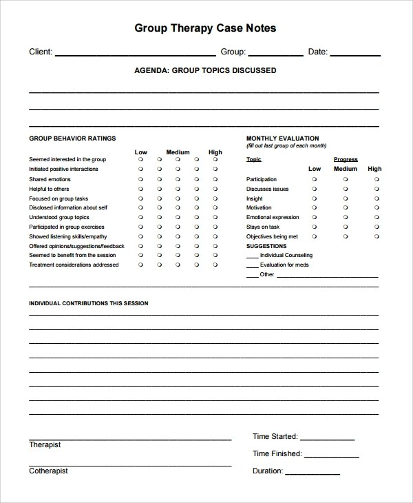 Sample Therapy Note Template - 5+ Free Documents Download in PDF, Word