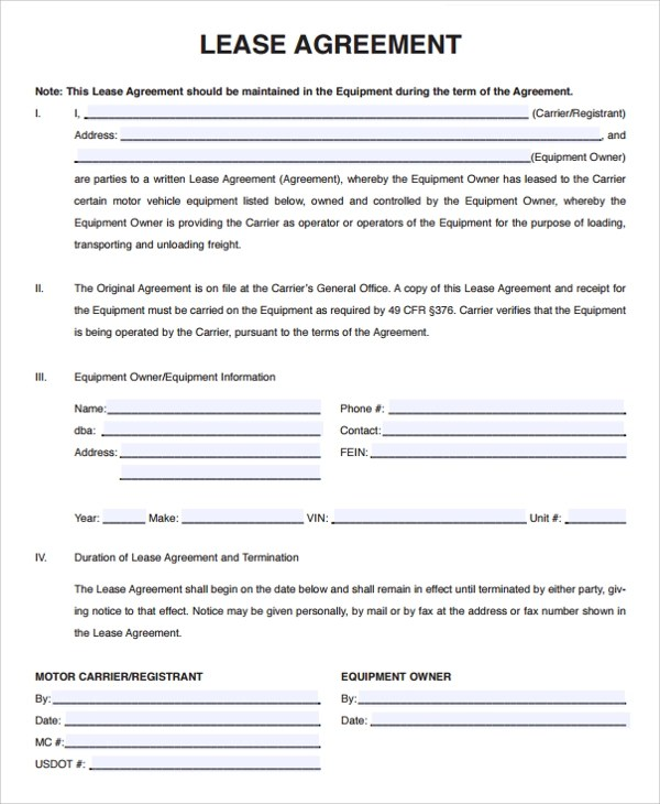 Sample Owner Operator Lease Agreement - 15+ Free Documents Download - free blank lease agreement forms