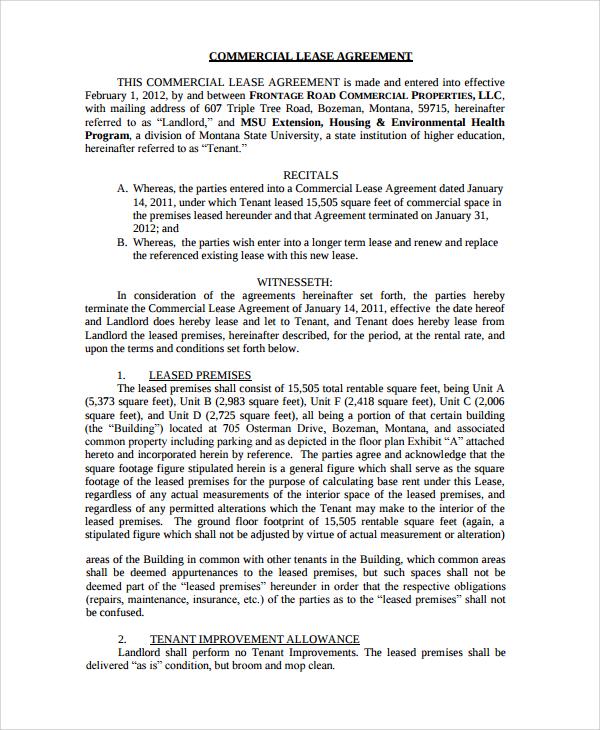 8+ Business Rental Agreement Templates Sample Templates - commercial tenancy agreement template