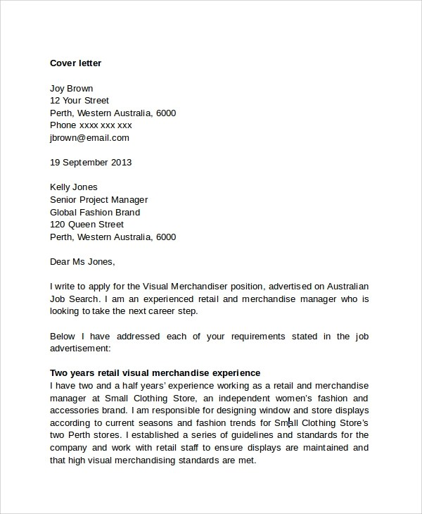 cover letter sample fashion internship - Australian Cover Letters