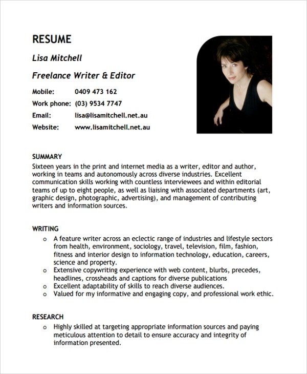 Sample Freelance Resume Template - 8+ Free Documents Download in PDF