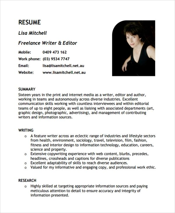 freelance writer resumes examples