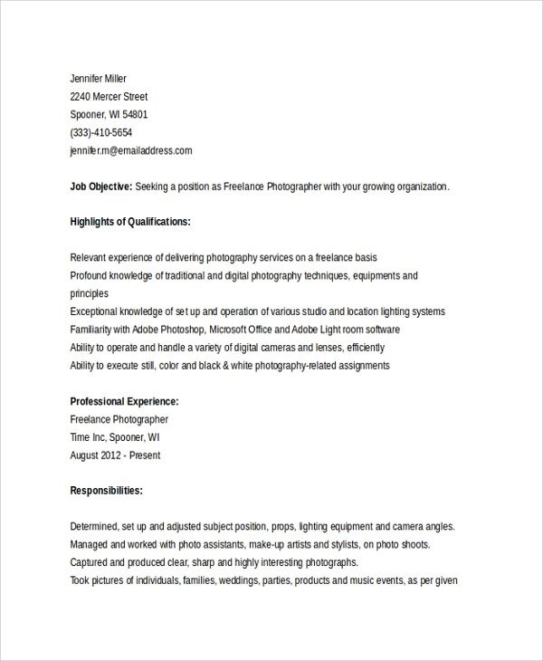 professional photographer resume - Barcaselphee