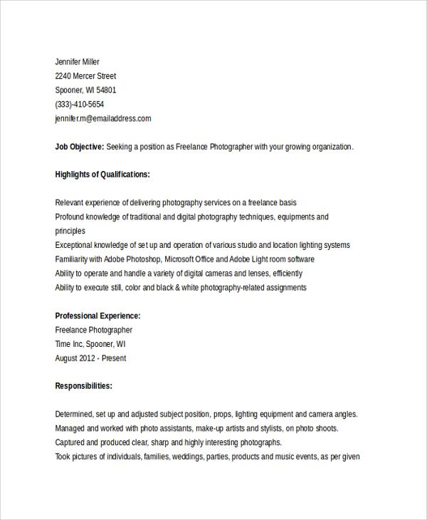 freelance photographer resume