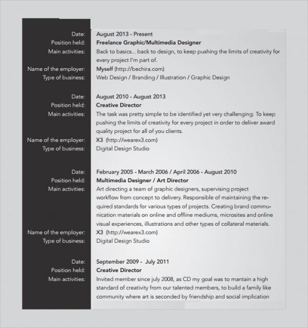 sample resume pdf format