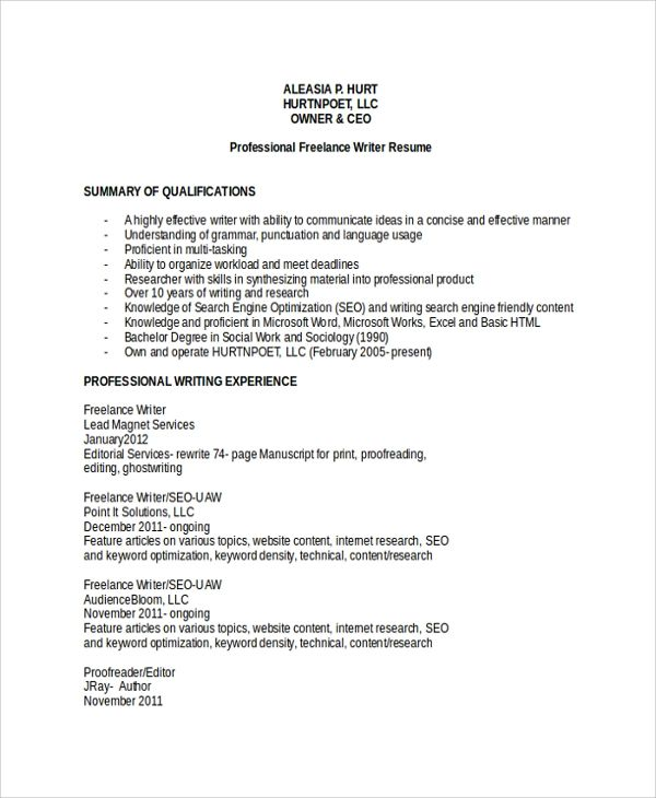resume freelance writer