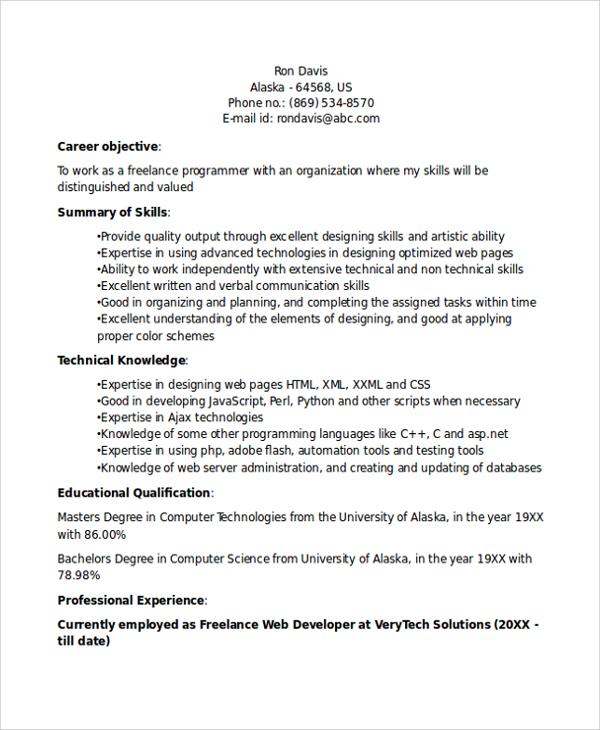 sample resume of freelance programmer best resumes curiculum