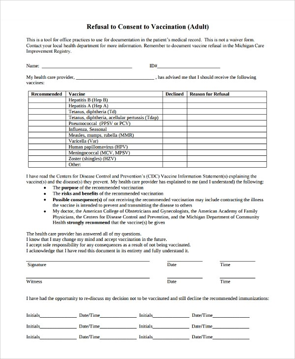8 Vaccine Consent Forms Sample Templates. SaveEnlarge