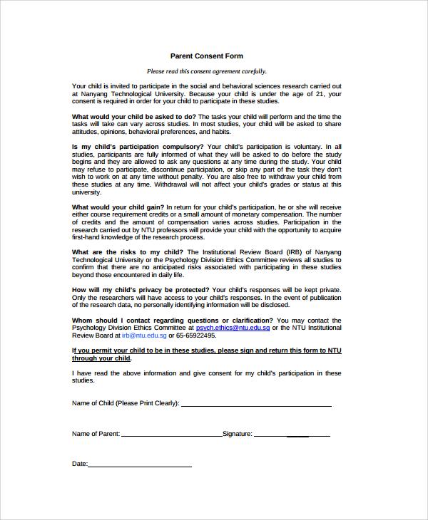 Parent Consent Forms Parent Consent Form For Travel Bcla Parent