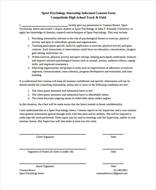 8+ Psychology Consent Forms Sample Templates