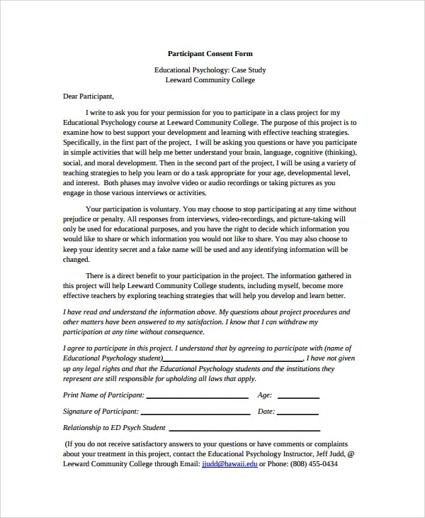 Sample Psychology Consent Form - 7+ Free Documents Download in PDF, Word