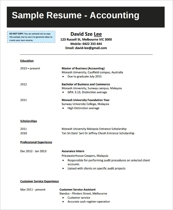 Sample College Graduate Resume - 8+ Free Documents Download in - accounting student resume