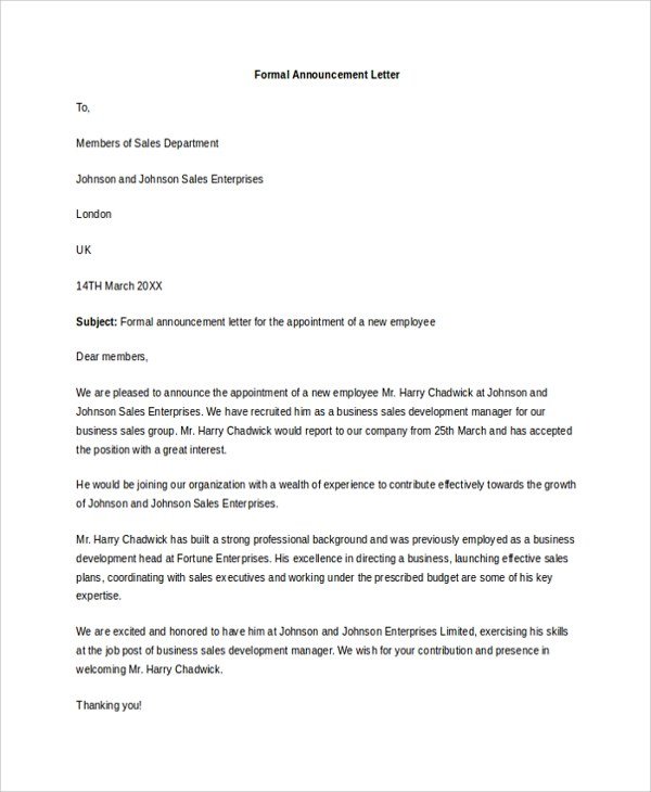 Sample Letter Business Announcement Sample Resume Of Mechanical - announcement letter samples