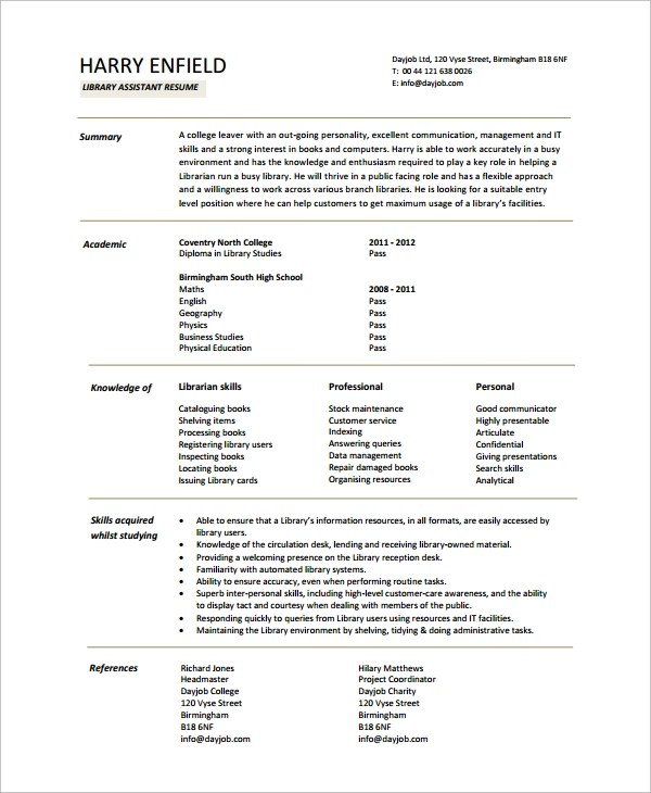 10+ Librarian Resume Sample Templates