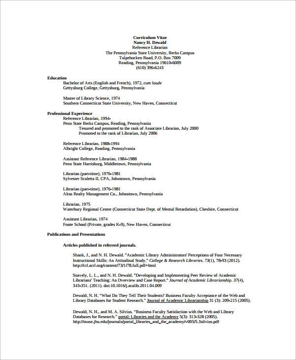 Sample Resume Reference Librarian CV Writing Services
