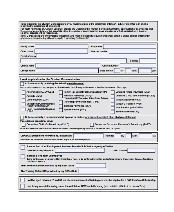 Sample Youth Allowance Form - 6+ Free Documents Download in Word, Pdf - attendance allowance form