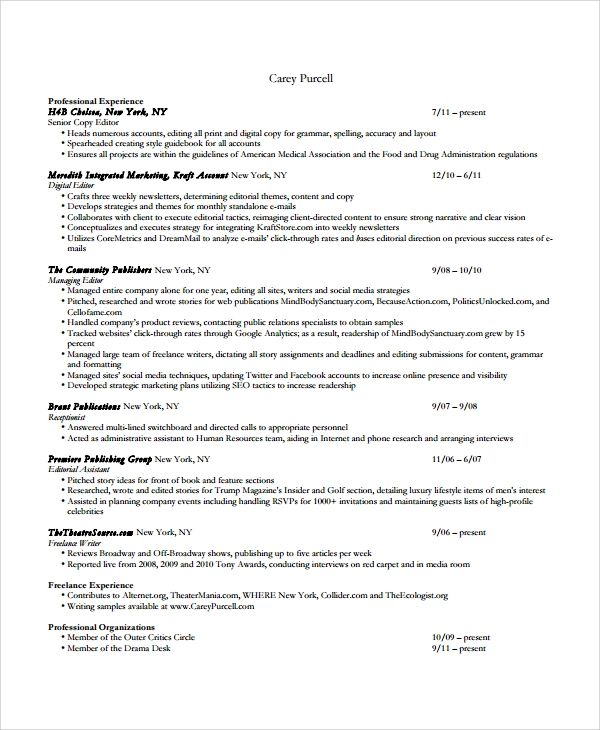 8 copy editor resume templates