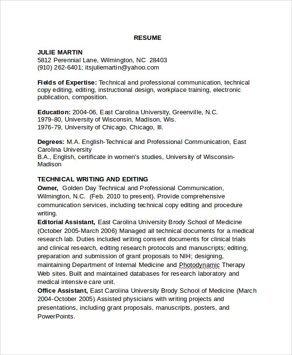 8+ Copy Editor Resume Templates Sample Templates