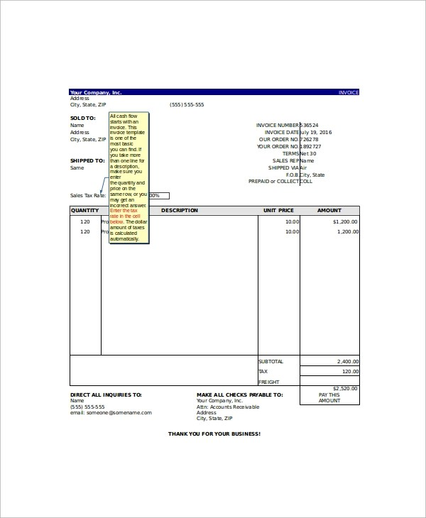 10+ Excel Invoice Templates Sample Templates - invoice templates for excel