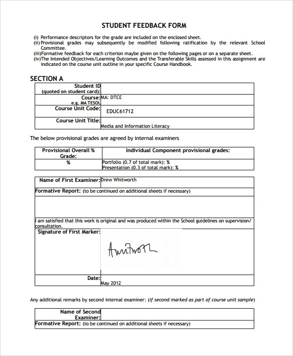 10+ Student Feedback Forms Sample Templates - feedback form sample