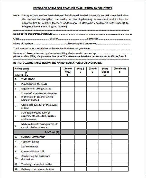 Ohio Teacher Evaluation System Otes Training Workbook Sample Students Feedback Form 9 Free Documents Download
