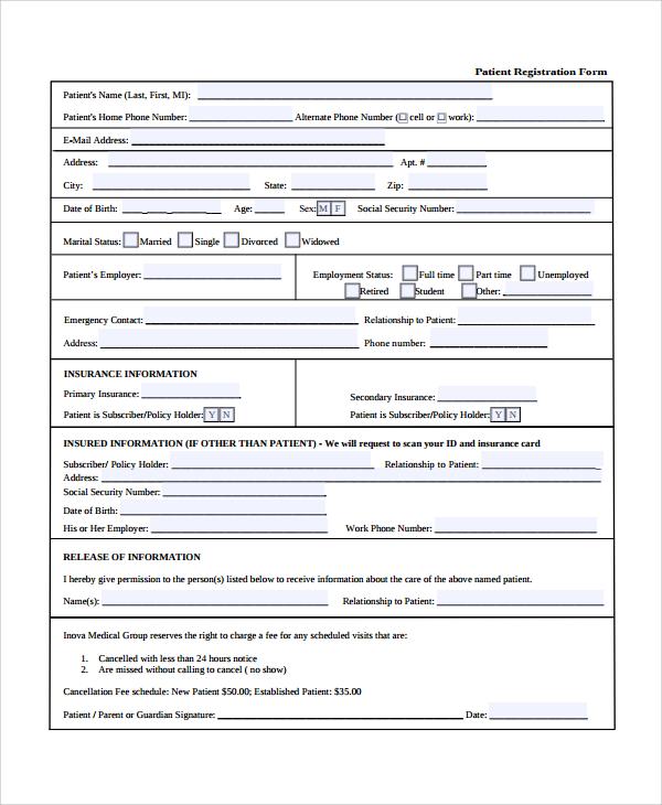 Free registration form template word node2003 cvresume sample patient registration form 8 free documents download in free registration form template altavistaventures Gallery