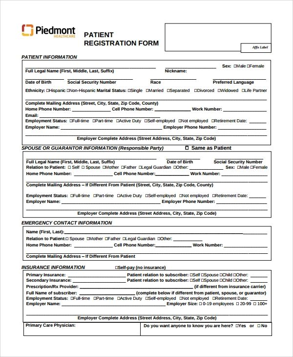 free medical history forms