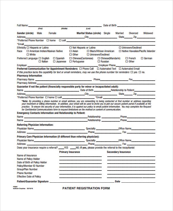 pediatric patient registration form template hgvi