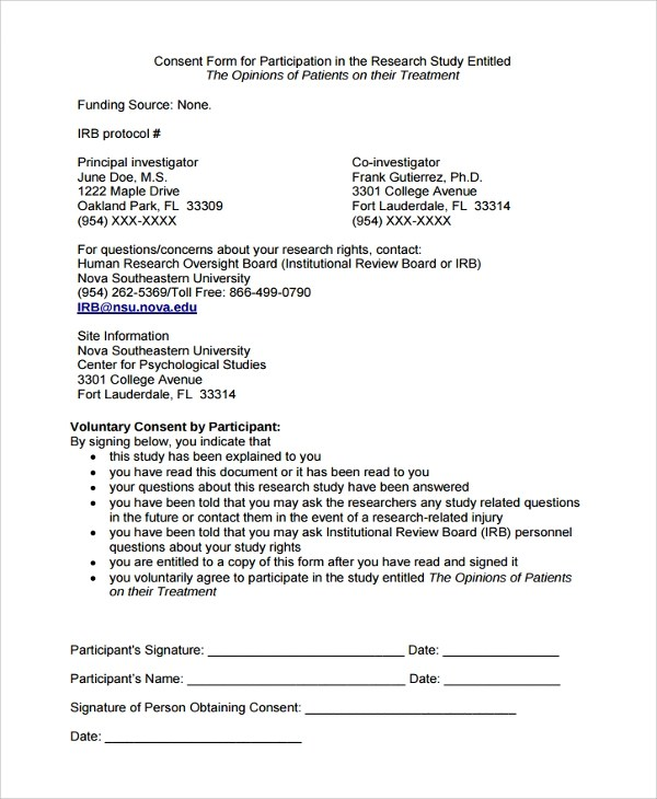 Sample Survey Consent Form - 9+ Free Documents Download in PDF, Word - consent form