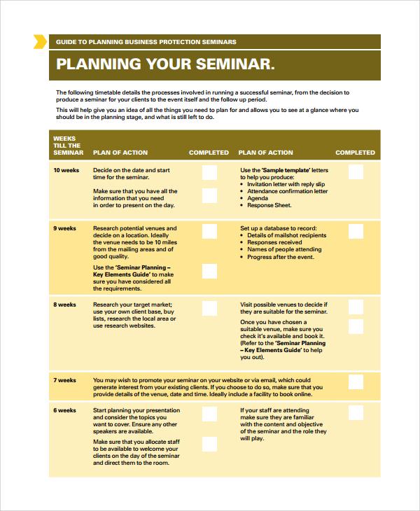 Sample Seminar Planning Templates - 7+ Free Documents Download in - seminar planning template