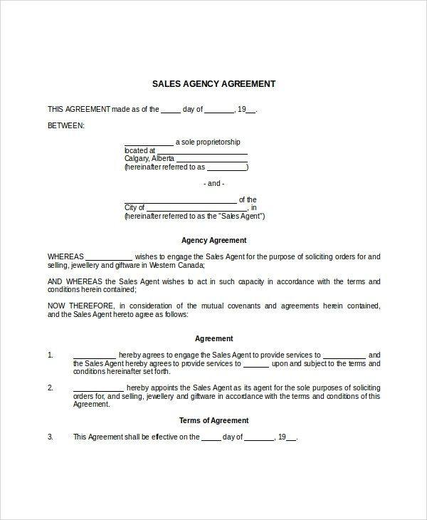 9+ Business Agency Agreements - Word, PDF