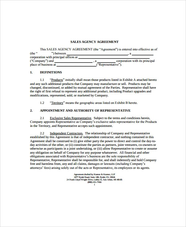 9+ Business Agency Agreements Sample Templates