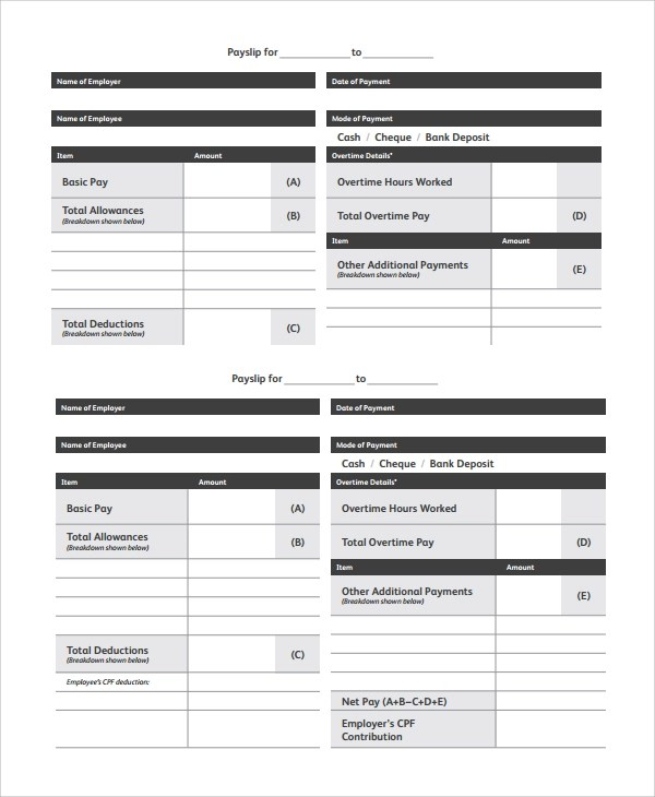 payslip template free download - Ozilalmanoof - payslip in word format