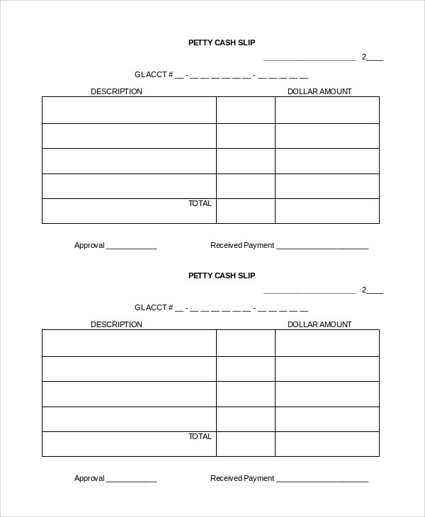 8+ Cash Slip Templates Sample Templates