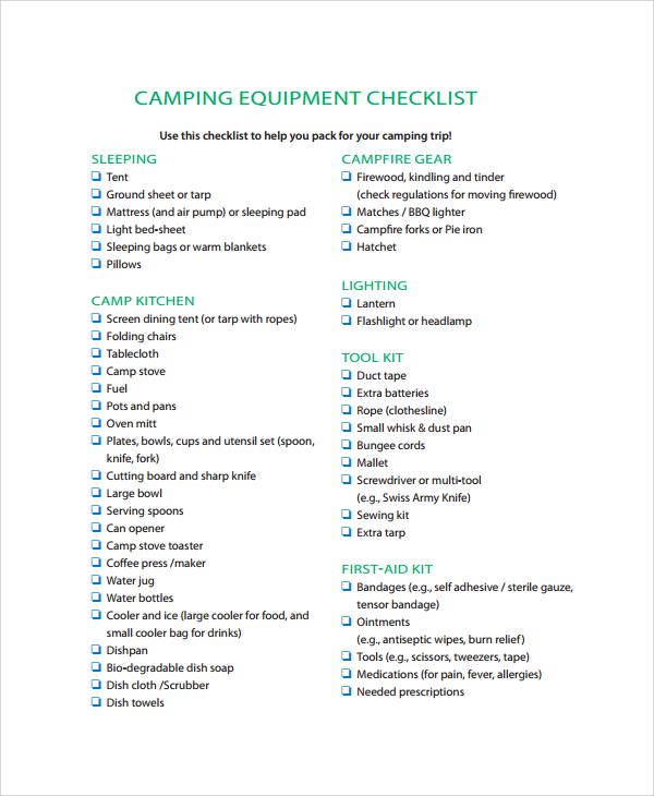 sample camping checklist dzeo - camping checklist template