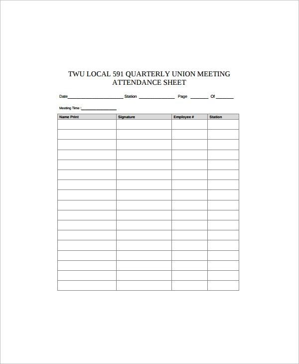 Sample Employee Sign in Sheet - 9+ Free Documents Download in Word - attendance sign in sheet