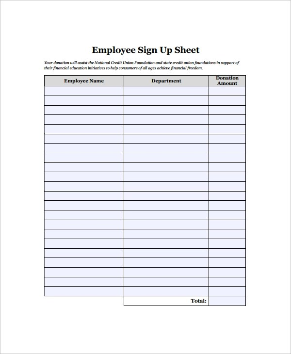 Sign In Sheet Sample Employee Sign In Sheet Sample Employee Sign - printable sign up sheet template