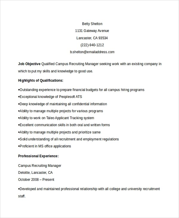 7+ Recruiting Manager Resume Templates Sample Templates