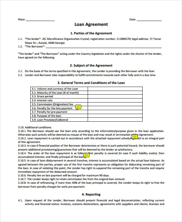 7+ Business Loan Agreement Sample Templates