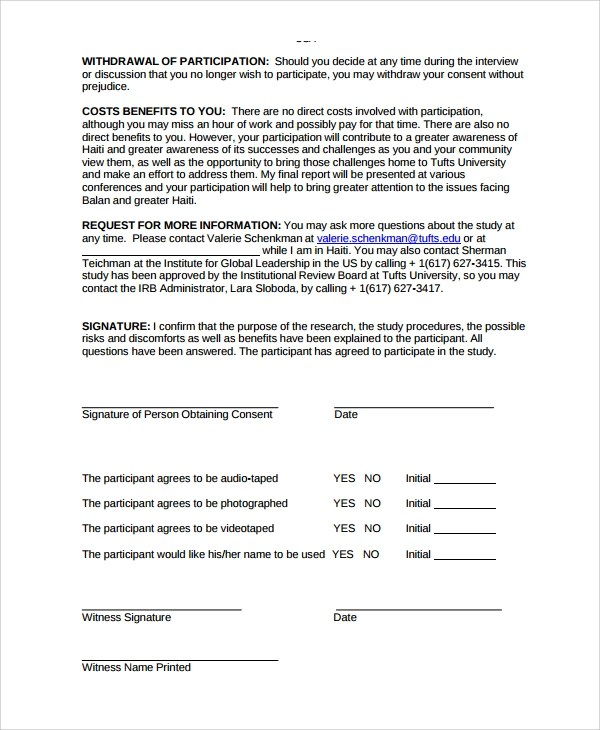 9+ Research Consent Form Templates Sample Templates