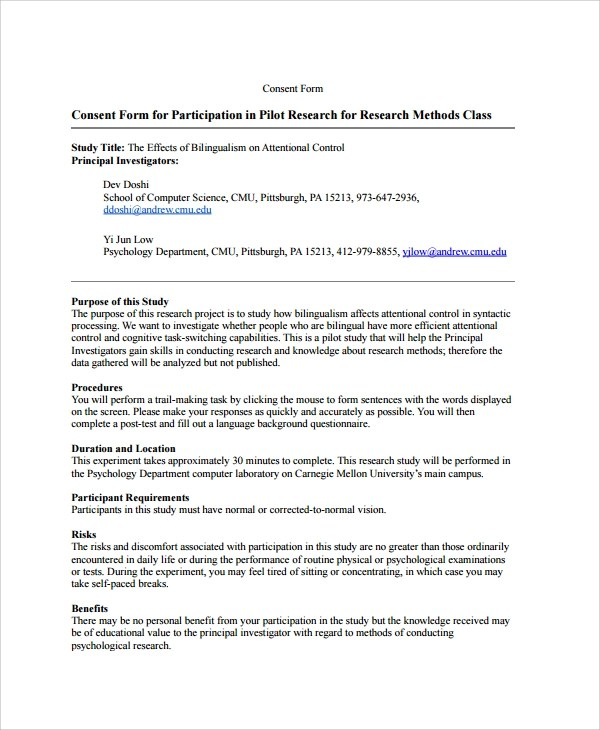 Psychology Consent Form sample survey consent forms - 8+ free